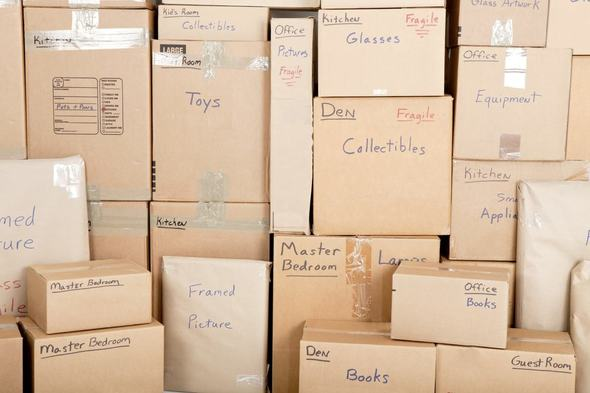 Photograph of packed boxes in Scranton PA